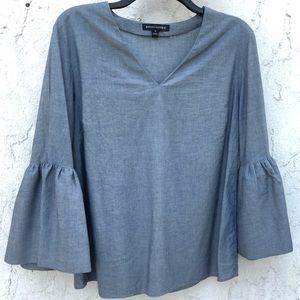 Contemporary chambray grey v-neck blouse